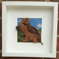 Needlefelted painting of a pot-bellied piglet