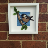 Needlefelted painting of a coal tit
