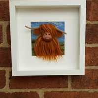 Needlefelted painting of a highland cow