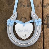 Decorated horseshoe new baby gift blue boy lucky good luck present