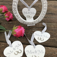 Wedding Mr and Mrs decorated horseshoe silver bridal marriage good luck gift