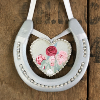 Peonies decorated horseshoe hanging heart gift good luck home decor wall hanging