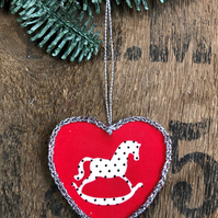 Christmas decoration rocking horse hanging heart xmas tree ornament
