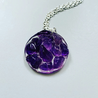 Natural Amethyst quartz gem stone sterling silver necklace February birth stone