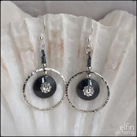 hematite & Swarovski statement silver hoop earrings, elfin alchemy art earrings