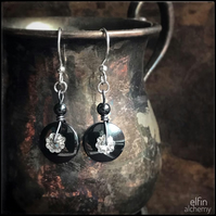 hematite disc & Swarovski statement silver earrings, elfin alchemy art earrings