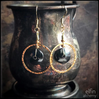 gold hoop statement earrings, hematite gemstone, elfin alchemy art earrings