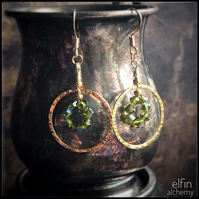 gold hoop statement earrings green goddess, Swarovski crystals, elfin alchemy
