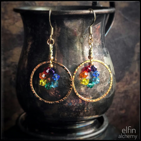rainbow gold hoop statement earrings, chakra Swarovski crystals, elfin alchemy