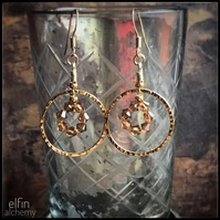 gold hoop statement earrings bronze, Swarovski crystals, elfin alchemy