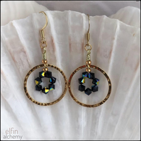 gold hoop statement earrings black beauty, Swarovski crystals, elfin alchemy