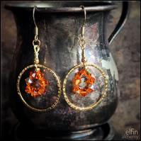 gold hoop statement earrings orange delight, Swarovski crystals, elfin alchemy