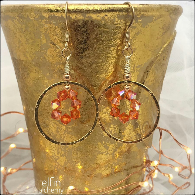 gold hoop statement earrings orange delight, hoop zoom earrings, elfin alchemy