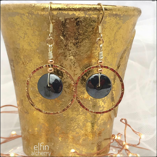 gold hoop statement earrings, hematite gemstone, elfin alchemy wearable art