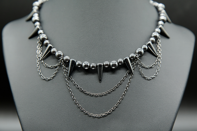 Hematite spiked necklace with chains