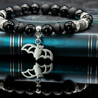 Bat and Onyx Bead Bracelet