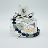 Blue Tigerseye and adventurine bracelet with cute 925 silver cat charm