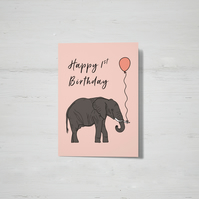 Kids Age Birthday elephant card (1st, 2nd or 3rd birthday)