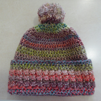 Womens Crochet Hat - Muted Rainbow - Size M