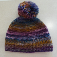 Womens Crochet Hat - Purple Jewel - Size M