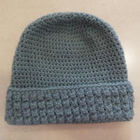 Womens Crochet Hat - Grey green - Size M