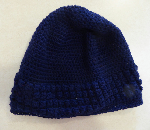 Womens Crochet Hat - Navy Blue - Size L