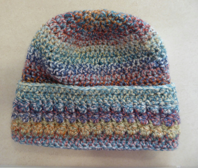 Womens Crochet Hat - Teal, Pink, Peach - Size L