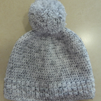 Womens Crochet Hat - White flecked with black - Size L