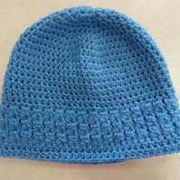 Womens Crochet Hat - Cornish Blue - Size L