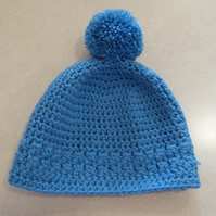Womens Crochet Hat - Cornish Blue - Size S