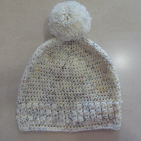 Womens Crochet Hat - Flecked Cream - Size S