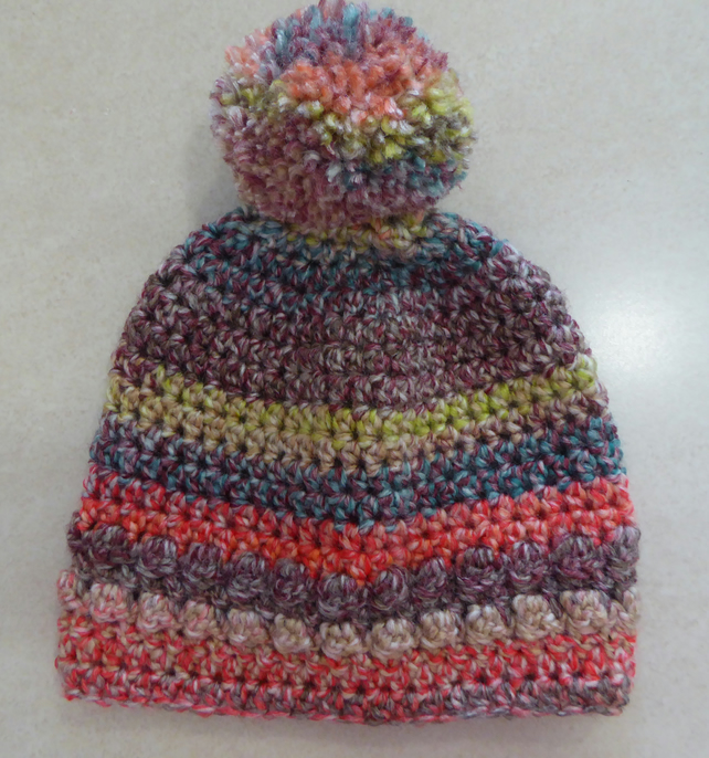 Girls Crochet Hat - Muted Rainbow