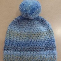 Girls Crochet Hat - Mixed Blues