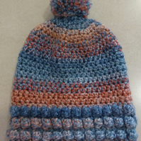 Girls Crochet Hat - Blue and Peach