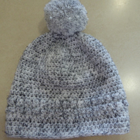 Girls Crochet Hat - Flecked White