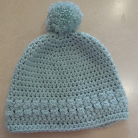 Girls Crochet Hat - Duck Egg Blue