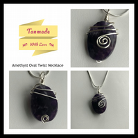Amethyst Oval Twist Necklace