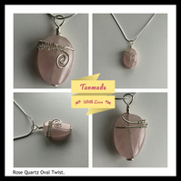 Rose Quartz Oval Twist Necklace