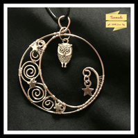 Crescent Moon Hand Wrapped Night Owl Necklace