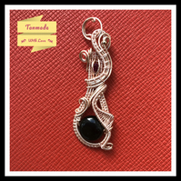 Rose Gold Copper Wire Wrapped Black Agate Pendant