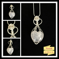 Elegant Handmade Heart Rose Quartz Pendant with Rose Embellishment