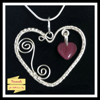 Pretty Handmade Wire Wrapped Heart Pendant