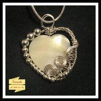 Silver Plated Handmade Mother Of Pearl Heart Necklace