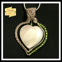 Pretty Handmade Mother Of Pearl Heart Necklace