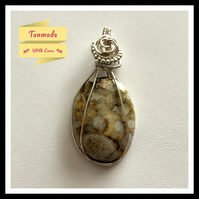 Beautiful Handmade Jasper Wire Wrapped Necklace