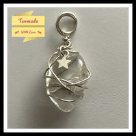 Hand Wrapped Clear Quartz Tumbled Stone Necklace with Star Charm