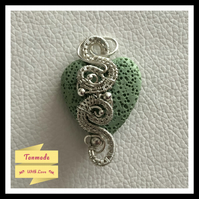 Green Heart Lava Stone Wire Wrapped Diffuser Necklace