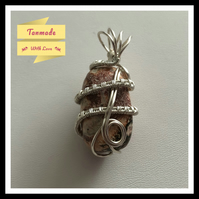 Simple Hand Wrapped Leopardskin Jasper Tumbled stone