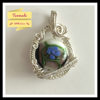 Beautiful Rose Vine Glass Lampwork Necklace