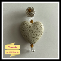 Beige Heart Lava Stone Diffuser Necklace With Wire Rose Embellishment